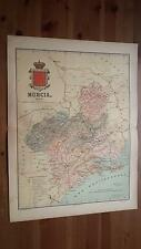 1903 MAPA de Murcia 1902 por Benito Chias y Carbo (Spain Map España Spagna)