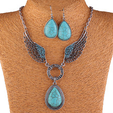 Bohemia Women Retro Silver Hollow Wings Crystal Turquoise Drop Pendant Necklace
