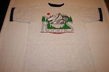 vtg 80s Rockies Rocky Mountains SUNSET RINGER neck sleeves T-Shirt M Tee EUC