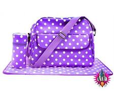 PURPLE POLKA DOT OILCLOTH MUM PRAM SHOULDER BAG BABY CHANGING MAT BOTTLE HOLDER