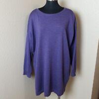 Eileen Fisher Merino Wool Purple Sweater Size Large L
