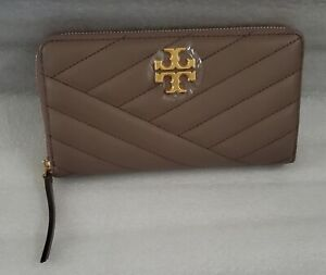 TORY BURCH Kira Chevron Quilted Zip Continental Wallet In Classic Taupe NWT