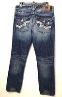 Big Star Union Slim Straight Jeans Mens Distressed 32L Measure 34x34 Flap Pocket