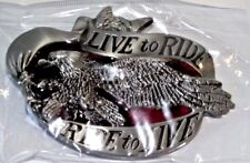 BELT BUCKLE, LIVE TO RIDE RIDE TO LIVE, WITH EAGLE, GREAT GIFT FOR BIKER