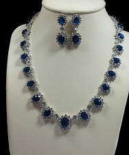 Sparkling, Blue Crystal & Cubic Zirconia Necklace & Earrings