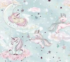 New GOLD glitter collection,unicorn in sky moon,100% cotton fabric width 160cm
