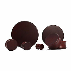 Pair of Double Flare Solid Lotus Wood Organic Ear Plugs Brown