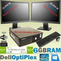 "FAST DELL DESKTOP DUAL SCREEN 2 x 22"" HD LCD MONITOR FULL SET PC WINDOWS 10 WiFi"