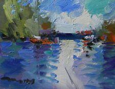 JOSE TRUJILLO ORIGINAL Canvas Board OIL PAINTING IMPRESSIONIST Lake Contemporary