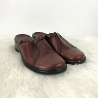 Clarks 8 M Womens Red Leather Slip-on Comfort Clogs