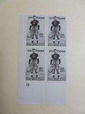 United States Scott 2089, the 20 cent Jim Thorpe Plate Block Mint