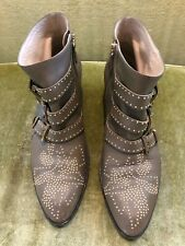 Chloé 'Susanna' Leather Boots, Size 40, Gold Studs