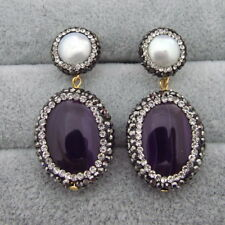 FC092113 White Pearl Purple Agate Earrings 925 Silver Stud with Yellow Gold Plat
