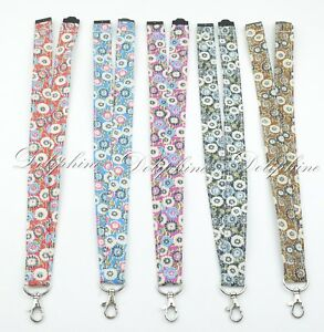 Multi Color Breakaway Flower Fabric LANYARD with Key Chain for ID Badge holder
