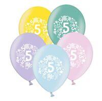"number 5 - stars & swirls -  12""  Pastel Assortment Latex Balloons pack of 5"