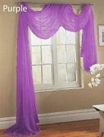 BRIGHT PURPLE SCARF SHEER VOILE WINDOW TREATMENT CURTAIN DRAPES VALANCE