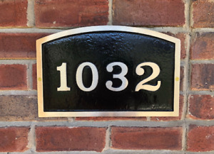 """Custom Address Plaque:Brass Arch House Number Sign 14 1/4 """" x 1/2"""" x 9 1/8"""""""