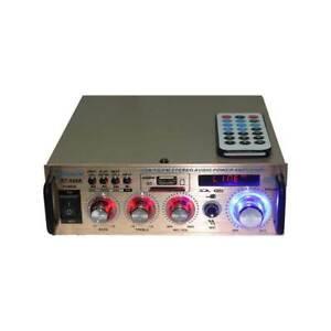 AMPLIFICATORE 2 CANALI STEREO HI-FI RADIO FM LETTORE MP3 USB EQUALIZZATORE BT004