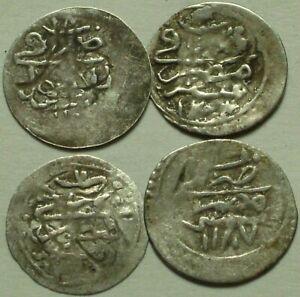 Lot 4 Genuine Islamic silver para coins/Selim, Abdul Hamid, Turkey, Cairo, Egypt