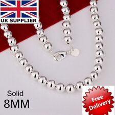 "Stunning 925 Sterling Silver Filled 8MM Solid Ball Beads Charm Necklace 20"" UK"