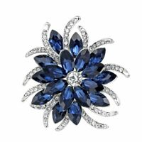 Unique Women Sapphire Flower Crystal Brooch Pin Wedding Bridal Bouquet Jewellery