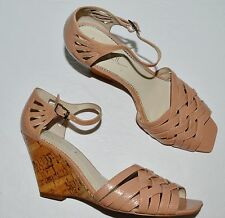 2c94c4806edd NICOLE MILLER NEW YORK KAMAN 8 M PATENT LEATHER CORK PLATFORM WEDGE HEEL  SANDAL