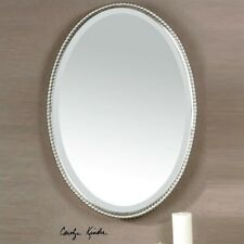 Uttermost Sherise Beaded Metal Oval Wall Mirror in Brushed Nickel