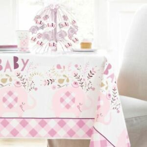 Pink Baby Shower Plastic Table Cover | Elephant Girl Christening Birthday Party