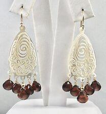 Genuine Garnet & Mother of Pearl Chandelier Solid 14kt Gold Earrings, New