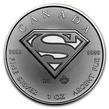 2016 Canadian $5 Maple Leaf Superman S Shield 1 oz .9999 Silver Coin