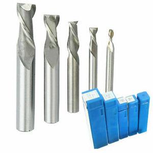 5PCS/Set 4-12mm HSS CNC Carbide Straight Shank 2 Flute End Mill Cutter Drill Bit