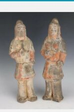 PAIR of TANG DYNASTY 14 INCH (618–907CE) PAINTED POTTERY WARRIOR