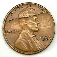 1966 LINCOLN CENT PENNY HUGE  RIM TO RIM LAMINATION MINT ERROR COIN #1. RARE!