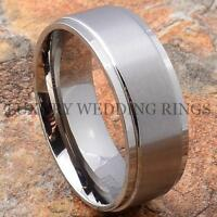 Titanium Wedding Band Infinity Men's Ring Bridal Jewelry Matte Tone Size 6-13