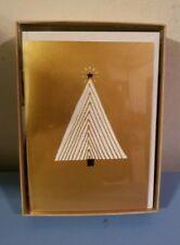 Hallmark Gold Christmas Holiday Cards Tree Print Box of 12