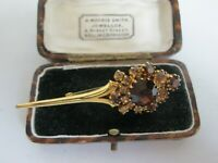 VINTAGE BROWN FACETED GLASS  GOLDTONE BROOCH SHAWL PIN