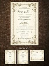 Wedding Invitations Vintage Frame Rustic Country 50 Invitations & RSVP Postcards