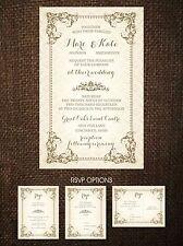 Wedding Invitations Vintage Frame Rustic Country 50 Invitations & RSVP Postcards