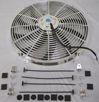 "16"" Universal Chrome S-Blade Electric Radiator Cooling Fan w/ Mounting Kit"