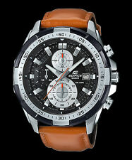 EFR-539L-1B Black Casio Edifice Men's Watches New Model 100M Leather Band New