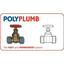 Polyplumb 15mm gate valve in brass. 15mm stop tap stop cock Push fit PB3115