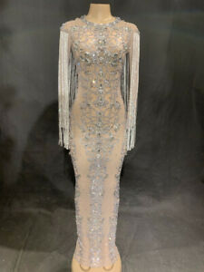 2021 Black mesh transparent sparkling crystal long dress party rhinestone dress