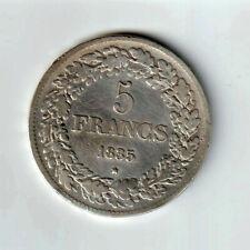 BELGIQUE 5 Francs 1835 Léopold Ier (Lire texte-Très rare - R1) Tête laurée - TB+