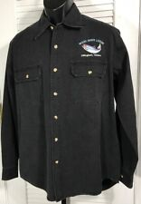 Cabelas Men's L Button Front LS Shirt Black Heavy Cotton Wood River Lodge Alaska
