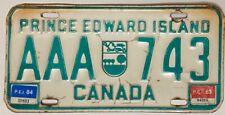 1983-84 PRINCE EDWARD ISLAND Canada License Plate  PEI #AAA-743