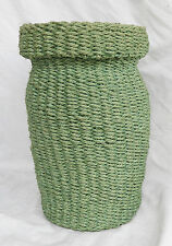 Hand Made Sea / Sage Green Sisal Basket - Waste Basket / Storage Basket