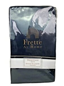 Frette At Home Arno Duvet Cover Navy Blue & White Cotton Queen Portugal $500