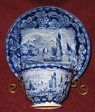 EARLY 19TH CENTURY STAFFORDSHIRE BLUE & WHITE CUP AND SAUCER CLIFFS OF DOVER ~D~