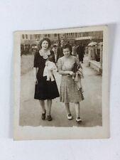"Vintage BW Real Photograph #AM: Women Walking ""Carlton Buffet"" Behind"