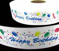 ".25 per yd - 6 Yds Happy Birthday Balloons White Acetate Ribbon 2 1/2""W"